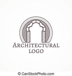 Vector illustration of trefoil arch icon with text