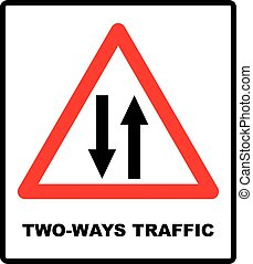 Vector illustration of triangle traffic sign for two way