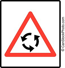 Vector illustration of triangle traffic sign for roundabout