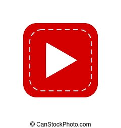 Vector illustration of triangular play sign on red web button