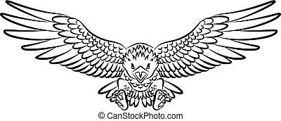 Tribal eagle tattoo isolated on white background