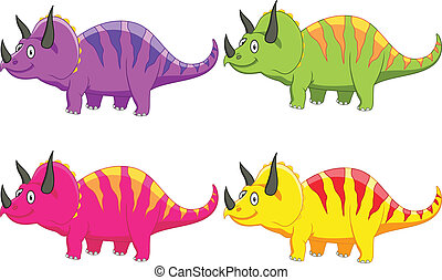 Triceratops cartoon - Vector illustration of Triceratops ...