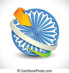 Tricolor Arrow around Ashoka Chakra - vector illustration of...