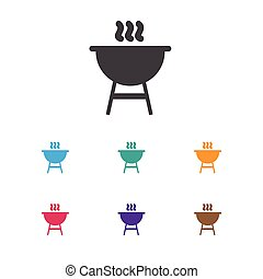 Vector Illustration Of Trip Symbol On Kebab Icon. Premium Quality Isolated Bbq Element In Trendy Flat Style.