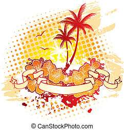 Tropic back with palms - Vector illustration of Tropic back...