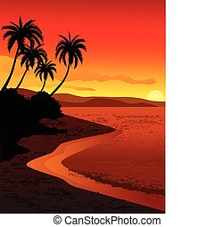 vector illustration of tropical beach sunset