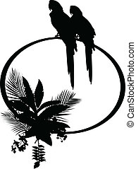 Tropical bird silhouette - vector illustration of Tropical...