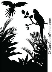 Tropical bird silhouette