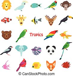 Vector illustration of tropical birds animals and fishes icon