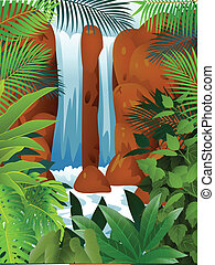 Tropical Forest With Waterfall - Vector Illustration Of...