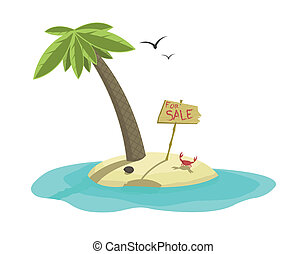 Vector illustration of tropical island for sale
