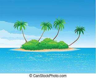 tropical island - vector illustration of tropical island