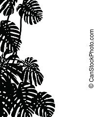 Tropical leaf background - Vector Illustration Of Tropical...