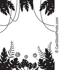 Tropical Leaf Background Silhouette - Vector illustration of...