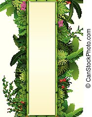 Tropical leaves background. Rectangle plants frame bamboo with space for text. Tropical foliage with vertical banner