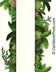 Tropical leaves background. Rectangle plants frame with space for text. Tropical foliage with vertical banner