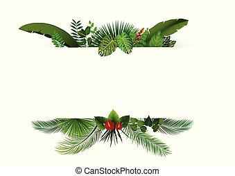 Tropical leaves background. Rectangle plants frame with space for text. Tropical foliage with horizontal banner