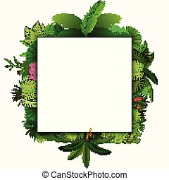 Tropical leaves background. Square tropical frame with space for text. Tropical foliage isolated on white background