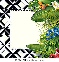 Tropical leaves with white frame paper for text background