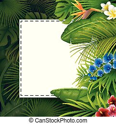 Tropical leaves with white frame paper for text on dark background