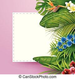 Tropical leaves with white frame paper for text on pink background