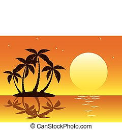 tropical palm island - vector illustration of tropical palm...