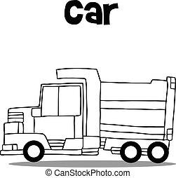 Vector illustration of truck hand draw