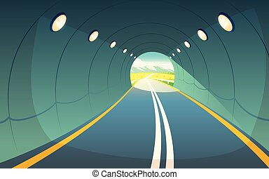 Vector illustration of tunnel, highway. Underground road.