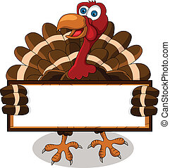 vector illustration of turkey cartoon with blank board