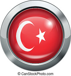 Turkey flag metal button