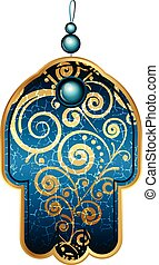 Vector illustration of turquoise hamsa with gems