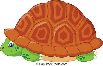 Turtle cartoon hiding in his shell - Vector illustration of...