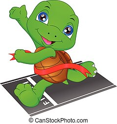 turtle running, turtle crossing the finish line, turtle fast is the winner