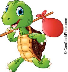 Turtle traveling cartoon