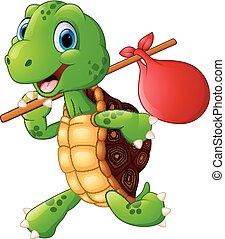 Turtle traveling cartoon
