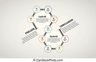 Twin Hexagon Lineup Infographic - Vector illustration of...