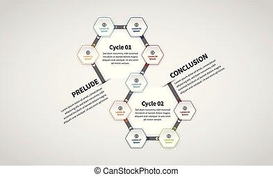 Vector illustration of Twin Hexagon Lineup Infographic design element.