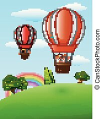 Two air balloons flying with happy kids