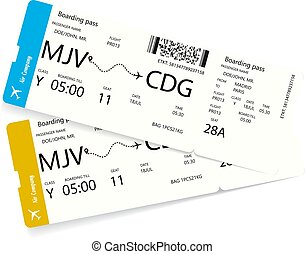 Vector illustration of two airline tickets
