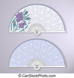 Vector illustration of two Asian folding fans.