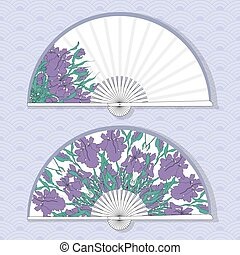 Vector illustration of two Asian paper fans.