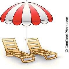 Two beach chairs under sunshade