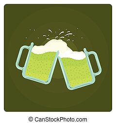Vector illustration of two beer mugs splashing