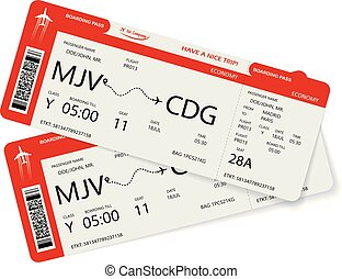 Vector illustration of two boarding pass