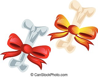 Vector illustration of two bones wraped in red and orange bows on white background.
