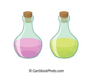 Vector illustration of two bottles
