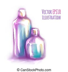 Vector illustration of two bottles on white background