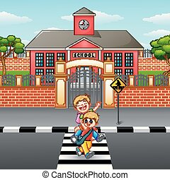 Two boy crossing the street