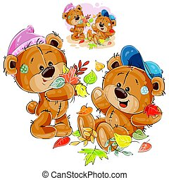 Vector illustration of two brown teddy bears playing with fallen leaves