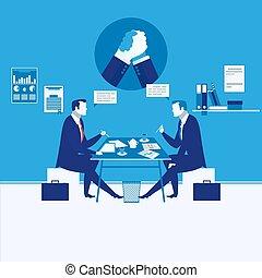 Vector illustration of two businessmen having meeting, arm wrestling symbol